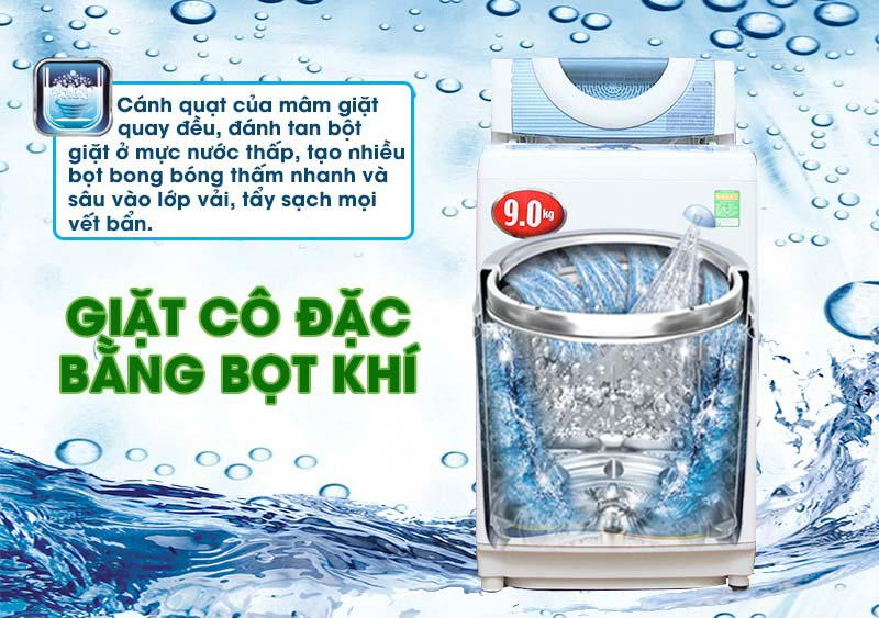 Máy giặt Toshiba AW-DC1005CV với công nghệ giặt cô đặc bằng bọt khí