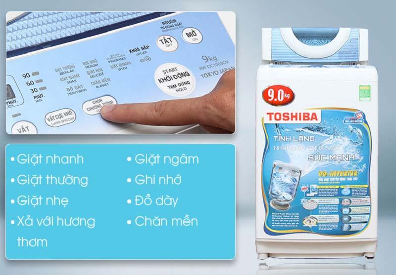 Nhiều chương trình giặt khác nhau của máy giặt Toshiba AW-DC1005CV tăng tính đa dạng lựa chọn cho người sử dụng
