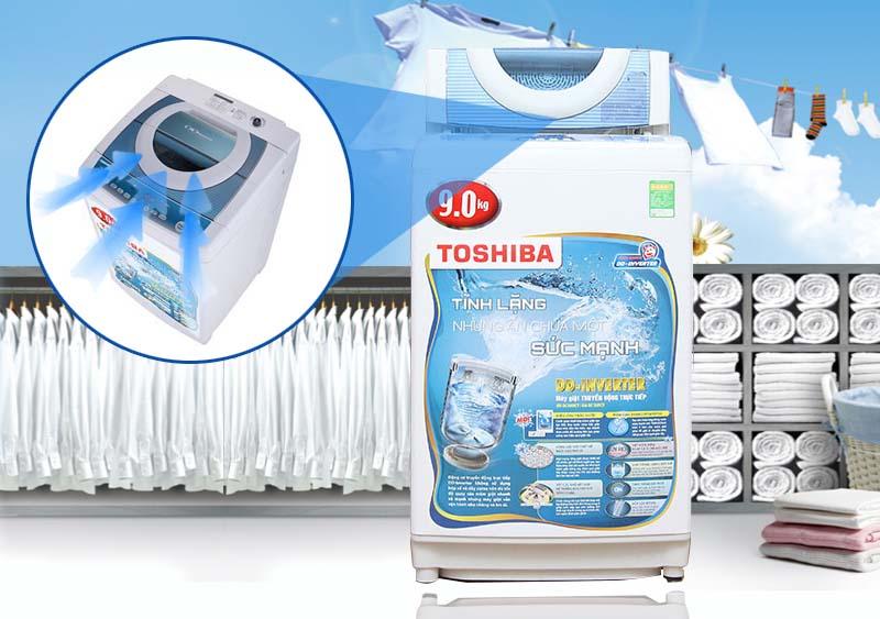 Khe hút khí vòng cung của máy giặt Toshiba AW-DC1005CV có khả năng vắt cực khô
