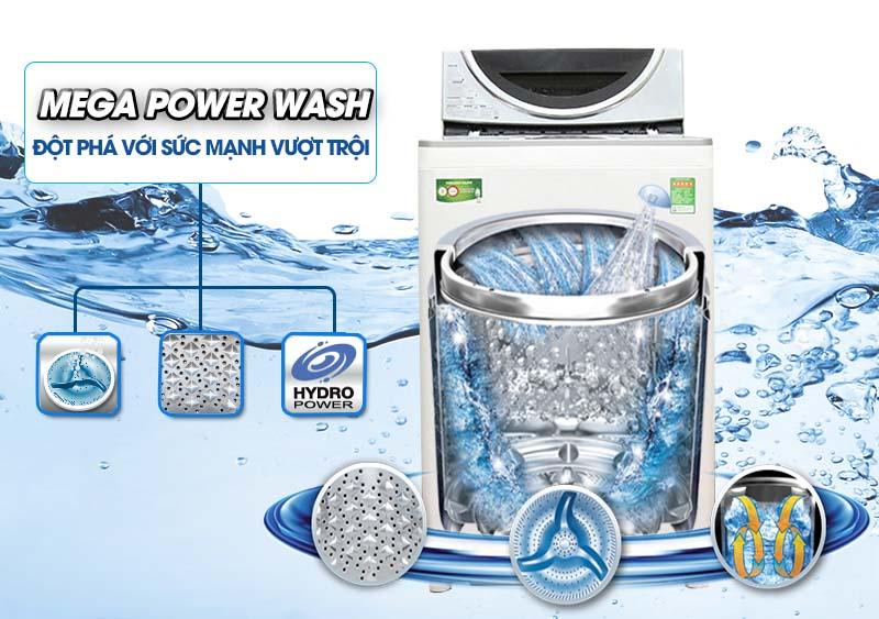 Mâm giặt Mega Power tạo ra luồng nước 3 chiều cực mạnh nhờ thiết kế mâm quạt ba cánh siêu bền
