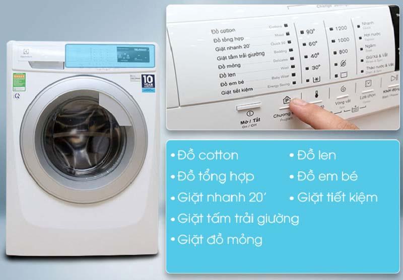 Chương trình giặt đa dạng của máy giặt electrolux ewf12843