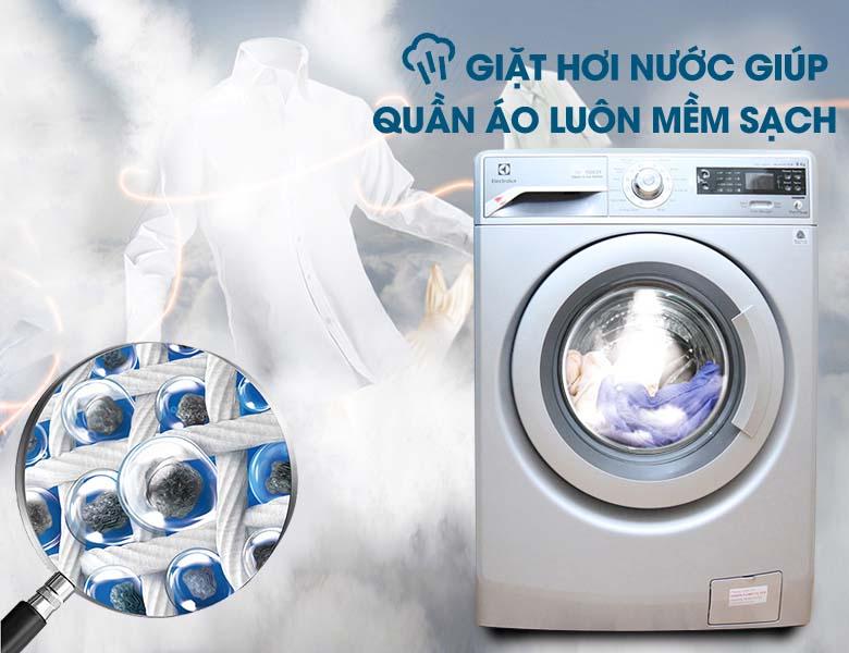 Giặt sạch vết bẩn cứng đầu với tính năng giặt hơi nước