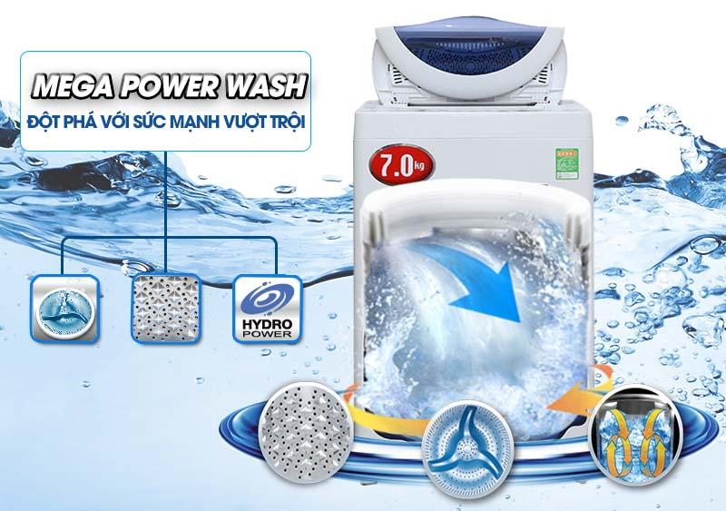 Hiệu ứng thác nước đơn của máy giặt Toshiba AW-A800SV WB đem lại hiệu quả giặt và xả tốt hơn