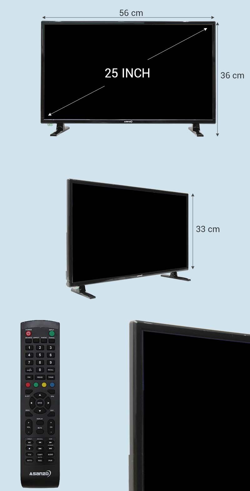 Tivi Asanzo 25 inch 25T350 - Kích thước tivi