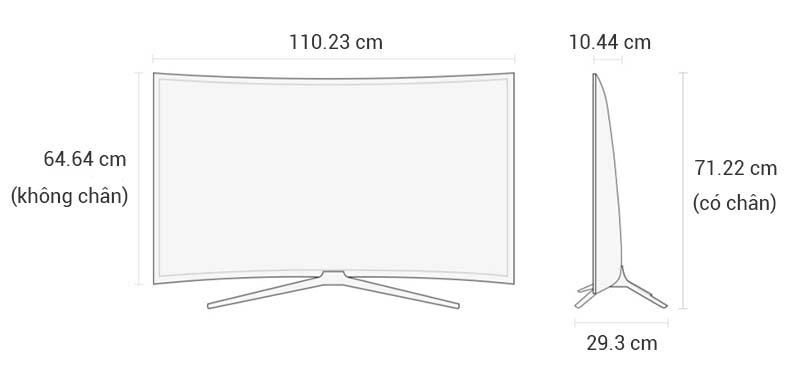 Smart Tivi Cong Samsung 49 inch UA49K6300 - Kích thước TV
