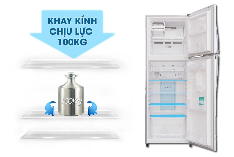 Khay kính của tủ lạnh Toshiba GR-S25VPB có thể chịu lực tốt