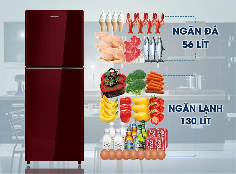 Tủ lạnh Panasonic 186 lít NR-BN201GAVN thiết kế mặt kính sang trọng