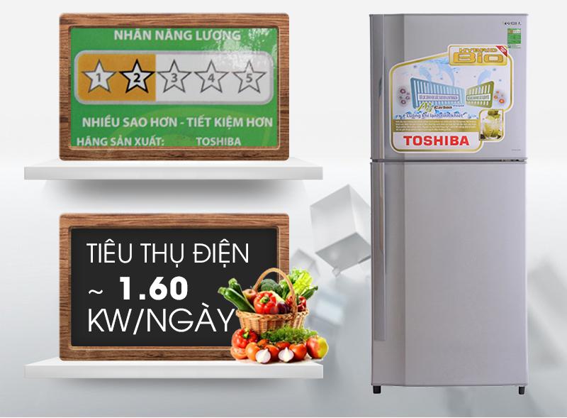 Điện năng tiêu thụ mỗi ngày của tủ lạnh Toshiba GR-S21VPB vào khoảng 1.6 kW