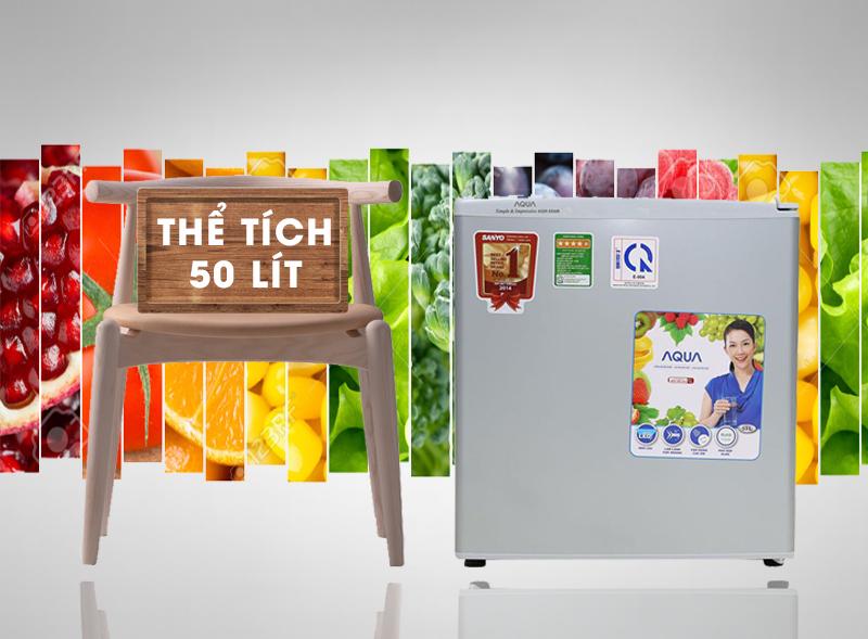 Sở hữu thiết kế nhỏ gọn cùng gam màu đẹp mắt, tủ lạnh Aqua AQR-55AR hứa hẹn sẽ đem đến góc nhìn đẹp mắt cho nội thất phòng bạn