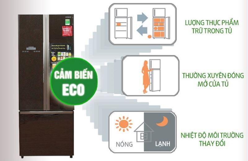 Với cảm biến nhiệt Eco, tủ lạnh Hitachi R-WB475PGV2 sẽ dựa trên lượng thức ăn trong tủ