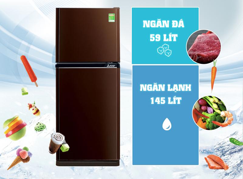 Tủ lạnh Mitsubishi Electric MR-FV24J-BR-V được làm từ chất liệu hợp kim Chrome bền chắc