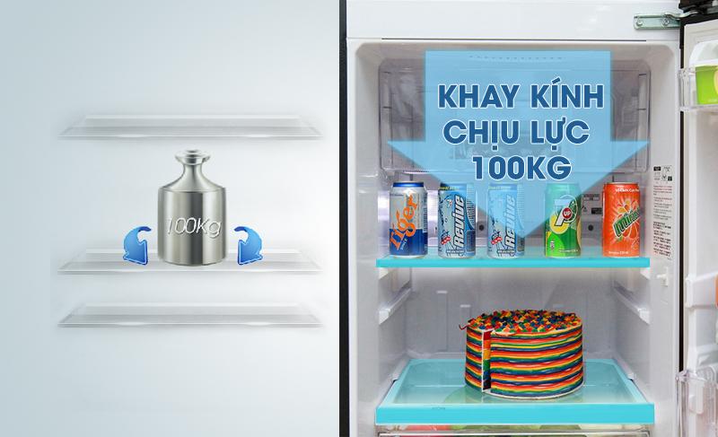 Khay kính chịu lực của tủ lạnh Mitsubishi Electric MR-FV24J-BR-V hỗ trợ nó có thể đựng lượng lớn thực phẩm mà không sợ bị vỡ