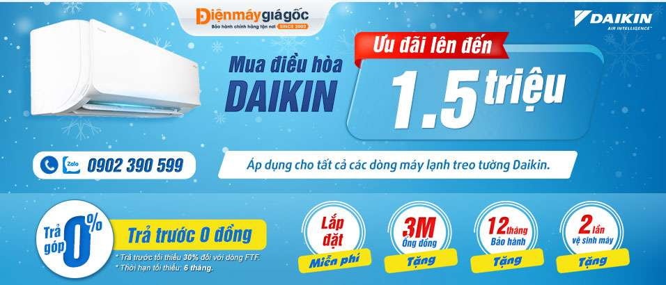 Máy lạnh Daikin Tặng quà 1,5 triệu